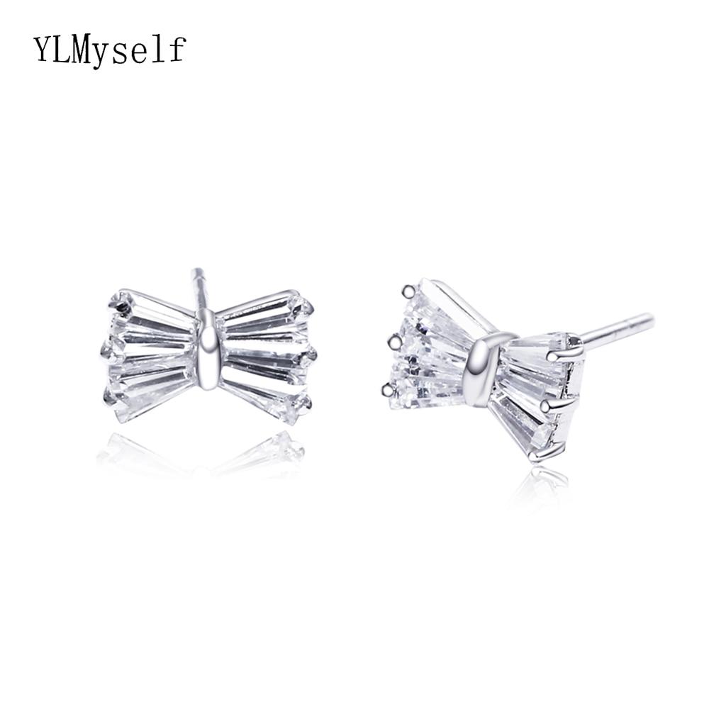 Real 925 Metal Stud Earrings Bow design Jewelry Lovely Zirconia Cute Jewellery Korean Fine Sterling Silver Small Earring