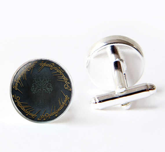 2017 yeni sıcak beyaz ağaç Gondor kol düğmeleri yüzüklerin efendisi R kol düğmesi cam kubbe fotoğraf manşetleri hediyeler erkekler için
