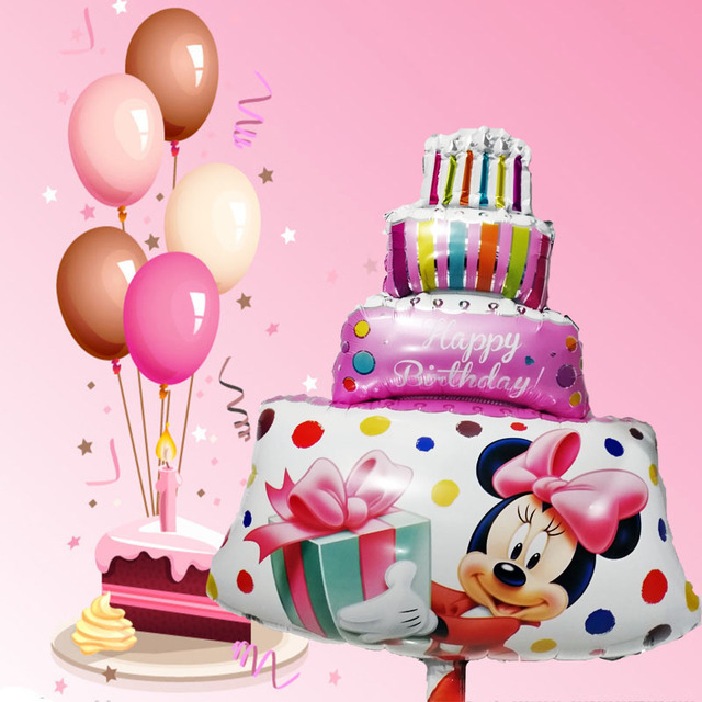 Super 1Pcs Large Size Pink Minnie Mickey Party Balloons Big Birthday Funny Birthday Cards Online Alyptdamsfinfo