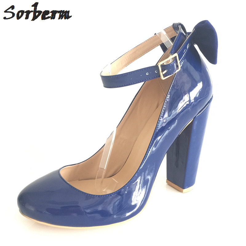 Sorbern Blue Square Chunky High Heels Small Round Toe Ankle Straps Patent Leather Size 13 Ladies Shoes Custom Women Pump Shoes