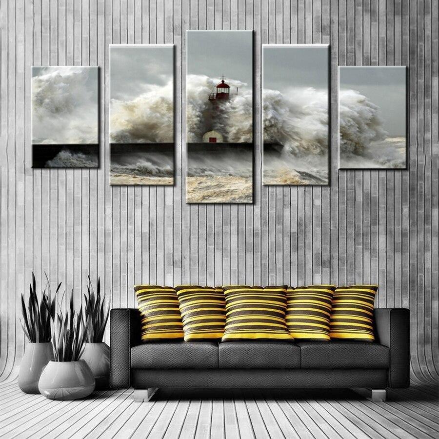 ღ ღArte de la pared cuadros modulares Sala impresiones de lienzo 5 ...
