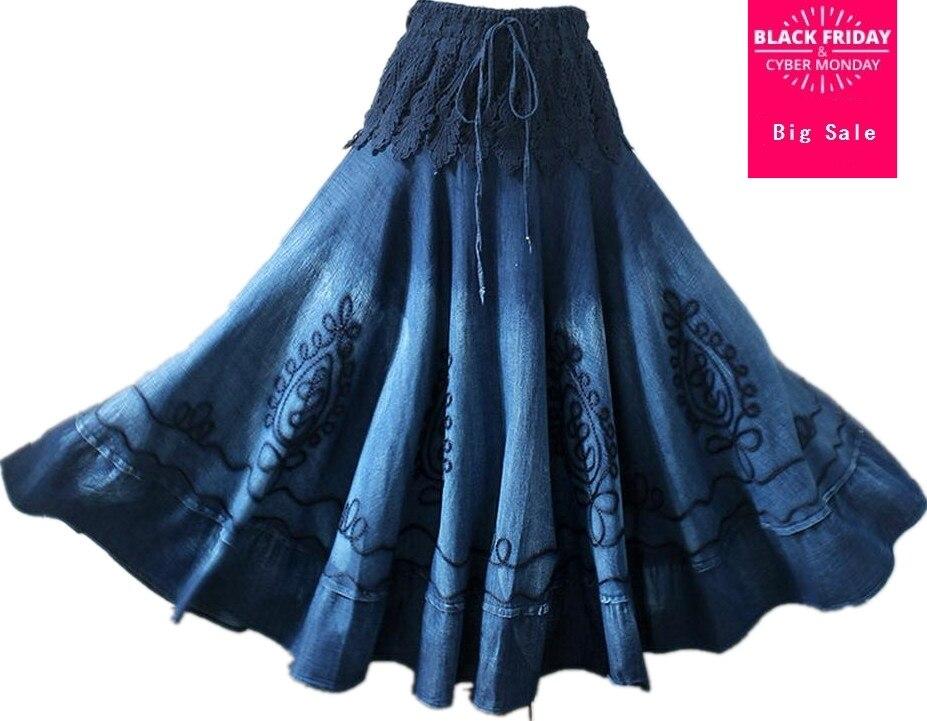Vintage ethnique broderie bohème épissé Mori fille Preppy Style Denim Maxi jupes femmes D390