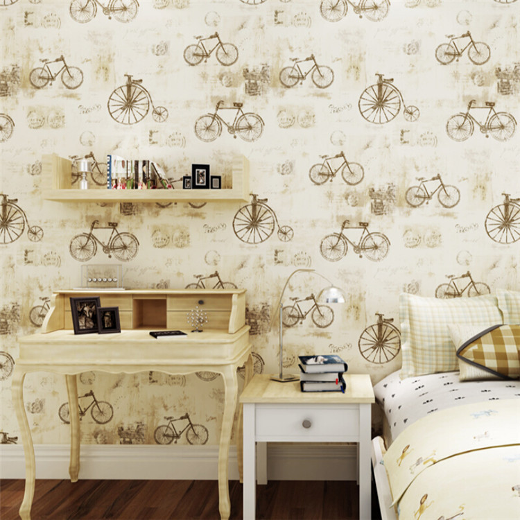 3D Vintage Bicycle Wallpaper Kids Children Study Living room Bedroom retro Backdrop Roll Wall Paper Covering childhood Decor