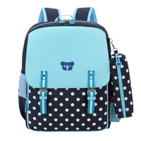 Dark Blue Polka Dot Bag Girls School Bags For Children Korean Style Kids Backpack Child Elementary