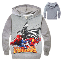 New 2016 Spiderman Boys Hoodies Kids Long Sleeve Pullover T-shirt Spider Iron Man Hulk Hoodie Children Hooded Sweaters Outwear