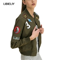 Army Green Fashion Women Bomber Jackets Nice Female Coat Flight Suit Casual Print Jacket Embroidered Patches Women Jacket Coats