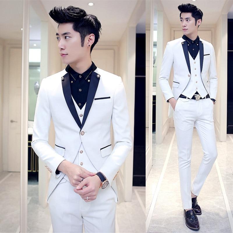 Wedding White Or Blue Shirt: 2017 New White Slim Fit Groom Tuxedos Navy Blue Lapel 3