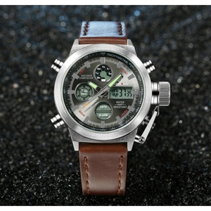 Image 3 - AMST צבאי שעונים צלילה 50 M ניילון & עור רצועת LED שעונים גברים למעלה מותג יוקרה קוורץ שעונים reloj hombre relogio Masculino