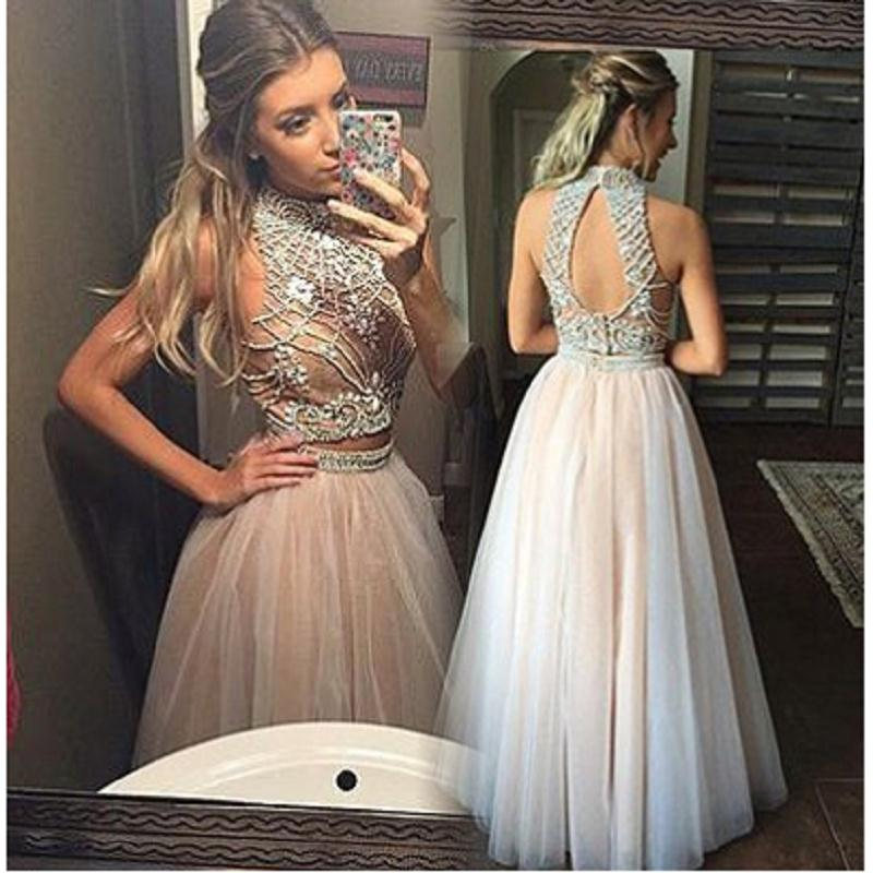 Champagne Two Piece Prom Dresses 2017 Luxury Beading Tulle