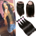 7A Brazilian Virgin Hair With Closure Cheap 360 Human Hair Frontal With Bundles Brazilian Straight Hair With Frontal Closure 360