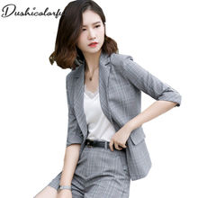 Dushicolorful Spring summer Women suits two piece set plaid