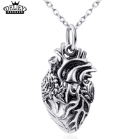 DELIEY Genuine 925 Sterling Silver Anatomy Jewelry Anatomical Heart Pendant Necklace For Men Women