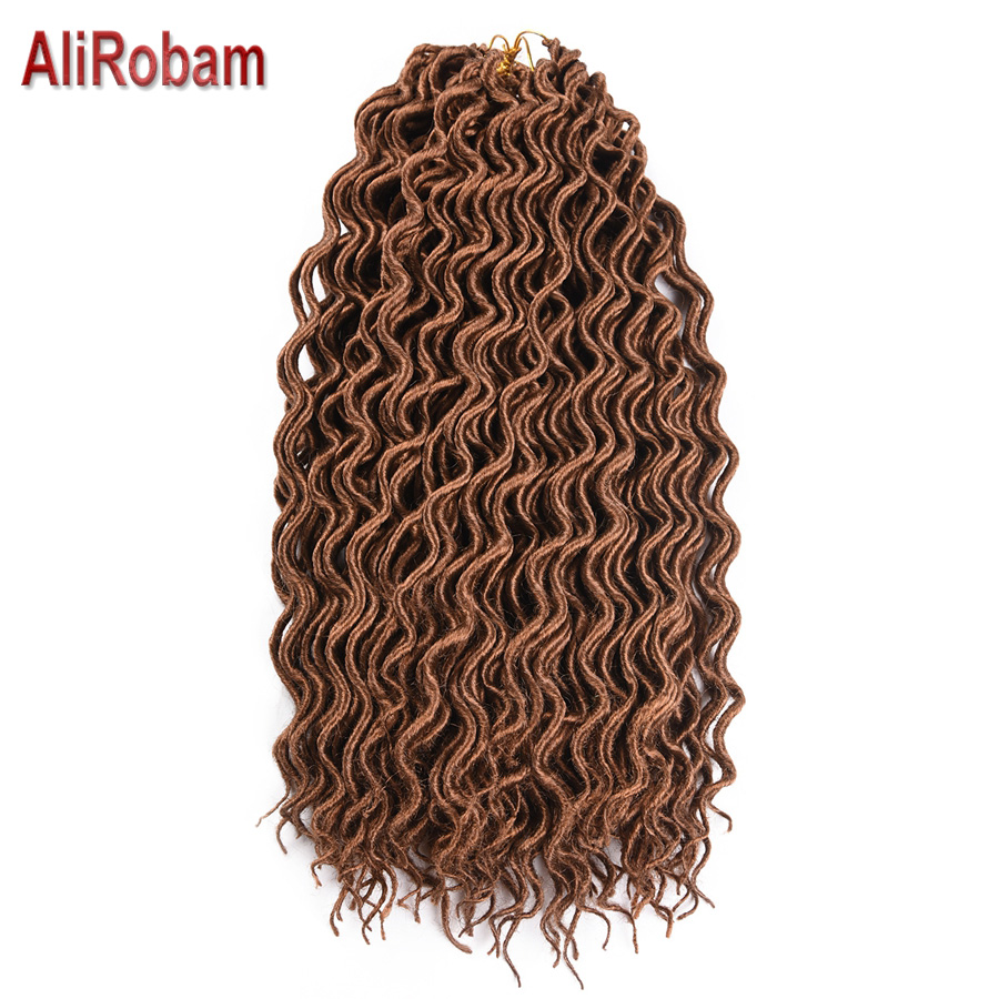 AliRobam Synthetic Soft Faux Locs Curly Crochet Braiding Hair Extensions 18Inch 24Strands/Pack Kanekalon Goddess Hairstyle ...