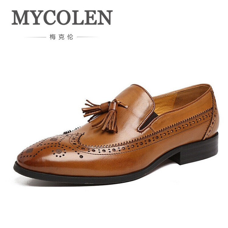 MYCOLEN New Autumn Business Men Casual Shoes Luxury Tassel Male Leather Shoes Breathable Brown Brogue Loafers erkek ayakkabi men casual shoes in the autumn of 2017 new england men s trend of men s shoes casual shoes leather shoes breathable four male