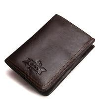 Luxury 100% Genuine Leather Wallet Men Wallets With Coin Pocket Purses Male Wallets Fashion Short Bifold Men Wallet Casual Soild