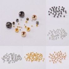 цена на 100pcs Gold/Silver Rhodium Metal Beads Smooth Ball Spacer Beads For Jewelry Making Findings DIY Jewelry Accessories Supplies