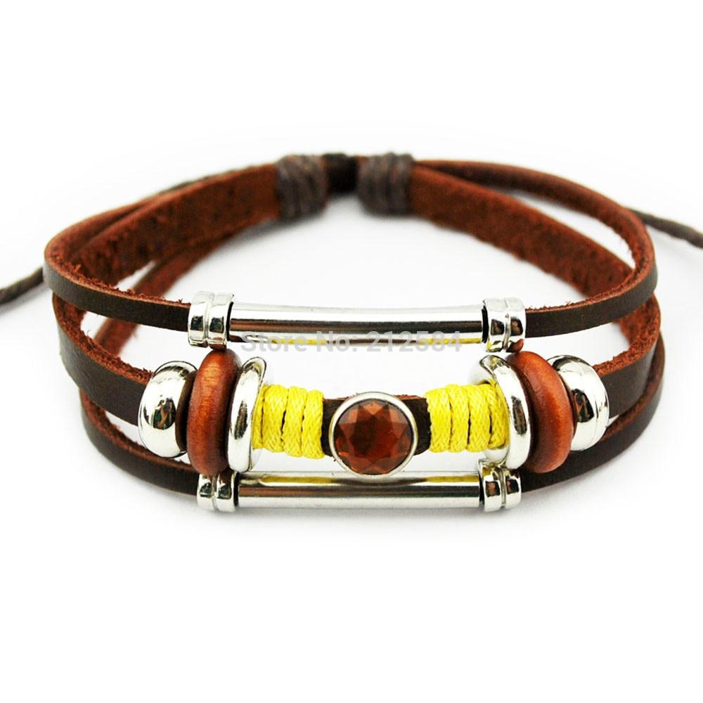 G419 Beautiful Crystal Beads Handmade Surfer Ethnic Hemp Leather Wrap  Bracelet Men Women Charm Bracelet Wristband