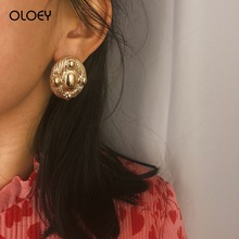 OLOEY Womens Earrings Retro Punk Short Geometric Simple Fashion Female Oval Irregular Alloy Jewelry Gifts