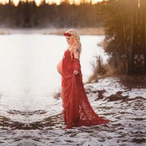 Image 3 - תחרה יולדות שמלות ראפלס סדק שפתוחה ליולדות צילום שמלת מקסי הריון צילום שמלת יולדות מקסי שמלה