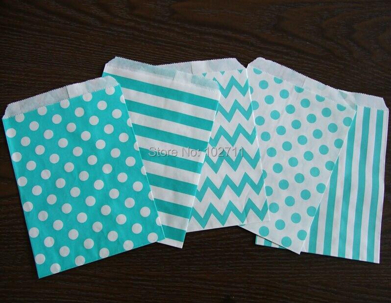 120pcs Mixed 6 Styles Aqua Blue Stripes Dot Chevron Candy Bags