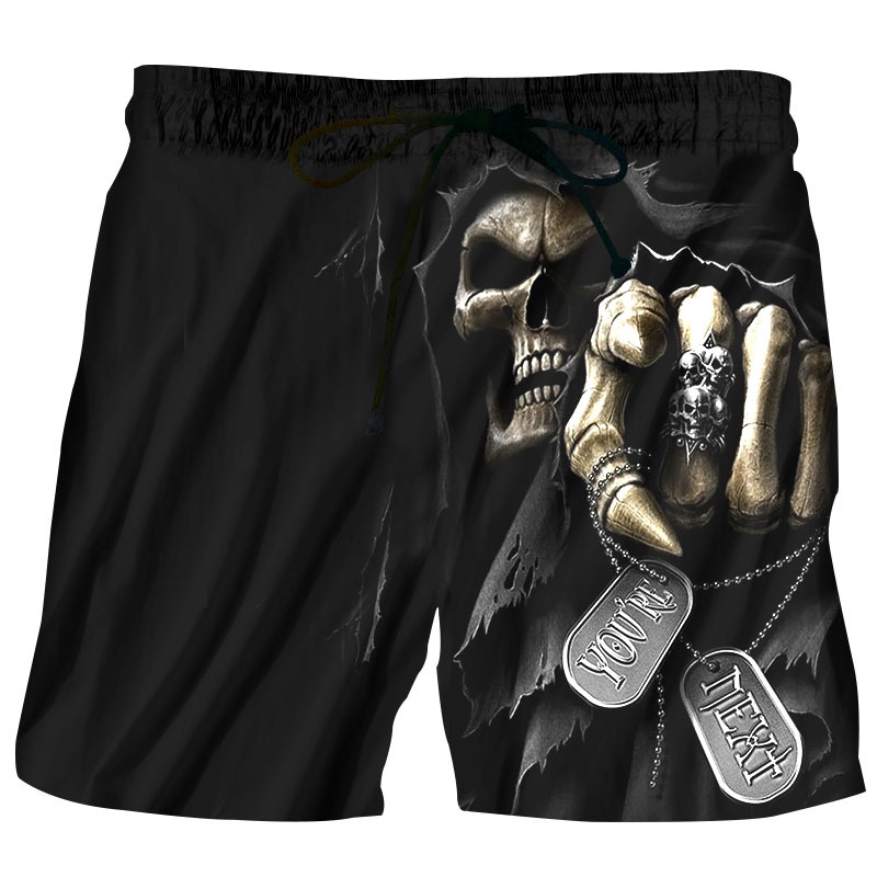 Summer Men Beach Shorts 2018 Skull Punisher 3D Print Fashion Men's Bermuda Boardshorts Fitness Trousers Plus Size 5XL Quick Dry