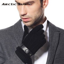 New style gentlemen Genuine leather gloves wrist men winter sheepskin gloves fashion leather winter driving gloves