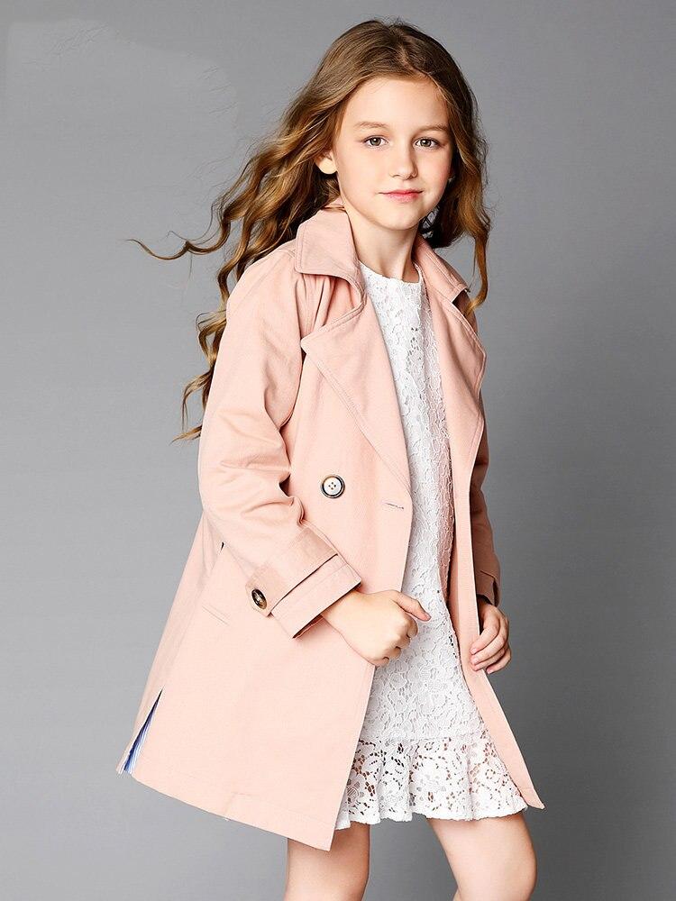 2018 hiver bébé filles veste d'hiver Trench coupe-vent Long Design enfants manteau adolescents pour l'âge 4 5 6 7 8 9 10 11 12 T ans