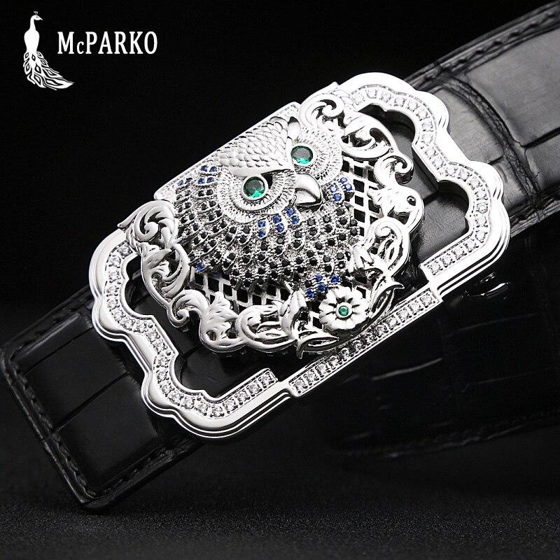 Luxury Genuine Crocodile Leather Belt Men High end Stainless Steel Buckle Rhinestone Owl Design Waist Belt Crocodile Skin Male