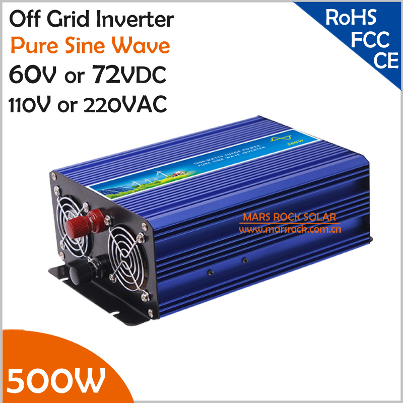500W Off Grid Pure Sine Wave Inverter, 60V/72V DC to AC 110V/220V Single Phase Inverter for Solar or Wind Power Inverter free shipping 600w wind grid tie inverter with lcd data for 12v 24v ac wind turbine 90 260vac no need controller and battery