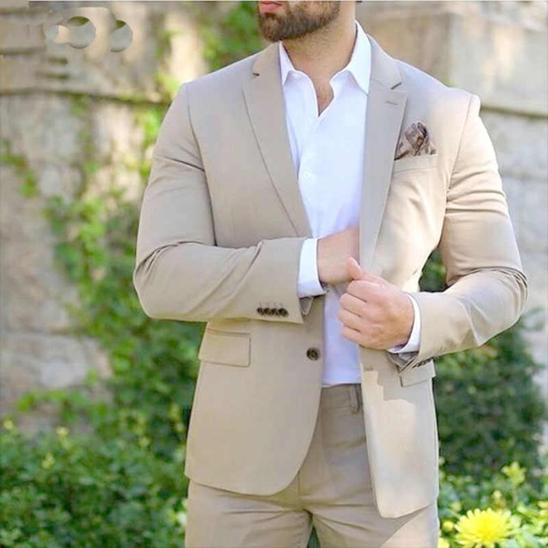 YWMS-399 Роскошные итальянские бежевый Для мужчин Костюмы 2017 классический стиль 2 штук Бизнес Для мужчин офис носить Костюмы Наборы для ухода за кожей Повседневное вечерние Смокинги для женихов