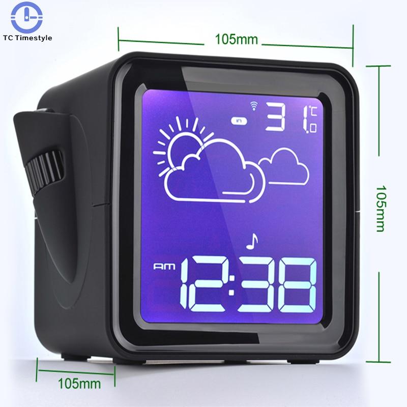 LED Projector Radio Digital Backlight display Clock Desk Snooze Weather Station Outdoor Temperature Humidity alarm clock
