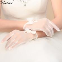 1 пара. женские прозрачные сетчатые Свадебные перчатки для невесты с белым бантом. женские короткие кружевные перчатки сеткой. вечерние аксессуары для невесты