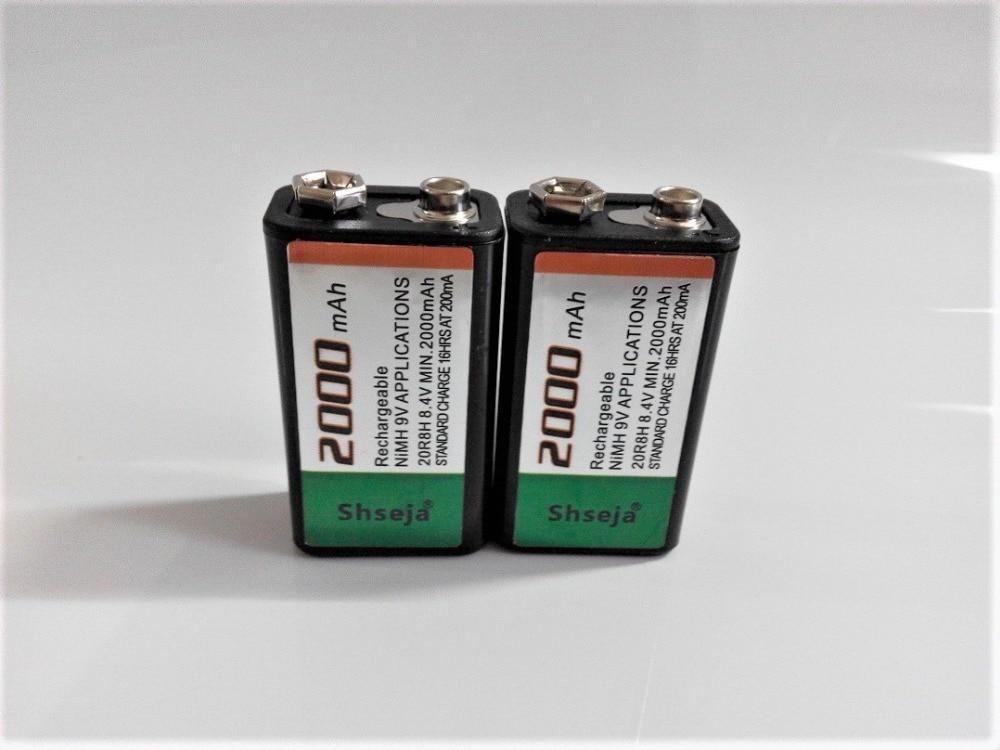 2PCS SHSEJA 2000mAh 9V rechargeable battery 9 volt Ni-MH battery for Microphone стоимость