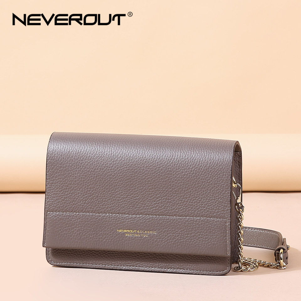 NEVEROUT Soft Genuine Leather Bag for Women Ladies Small Messenger Purse Solid Flap Shoulder Sac Classic Chain Crossbody Handbag все цены