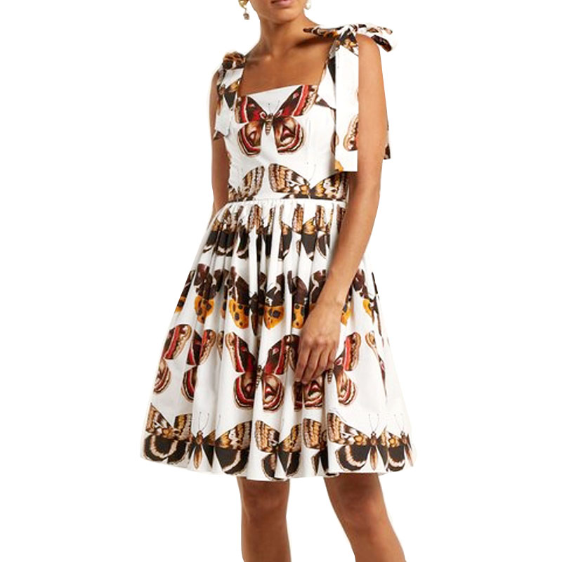 Autumn Fashion Women Casual Plus 3XS-10XL Retro Vintage White Butterfly Printing Dress Lady's Sexy Backless Slash Neck Dresses