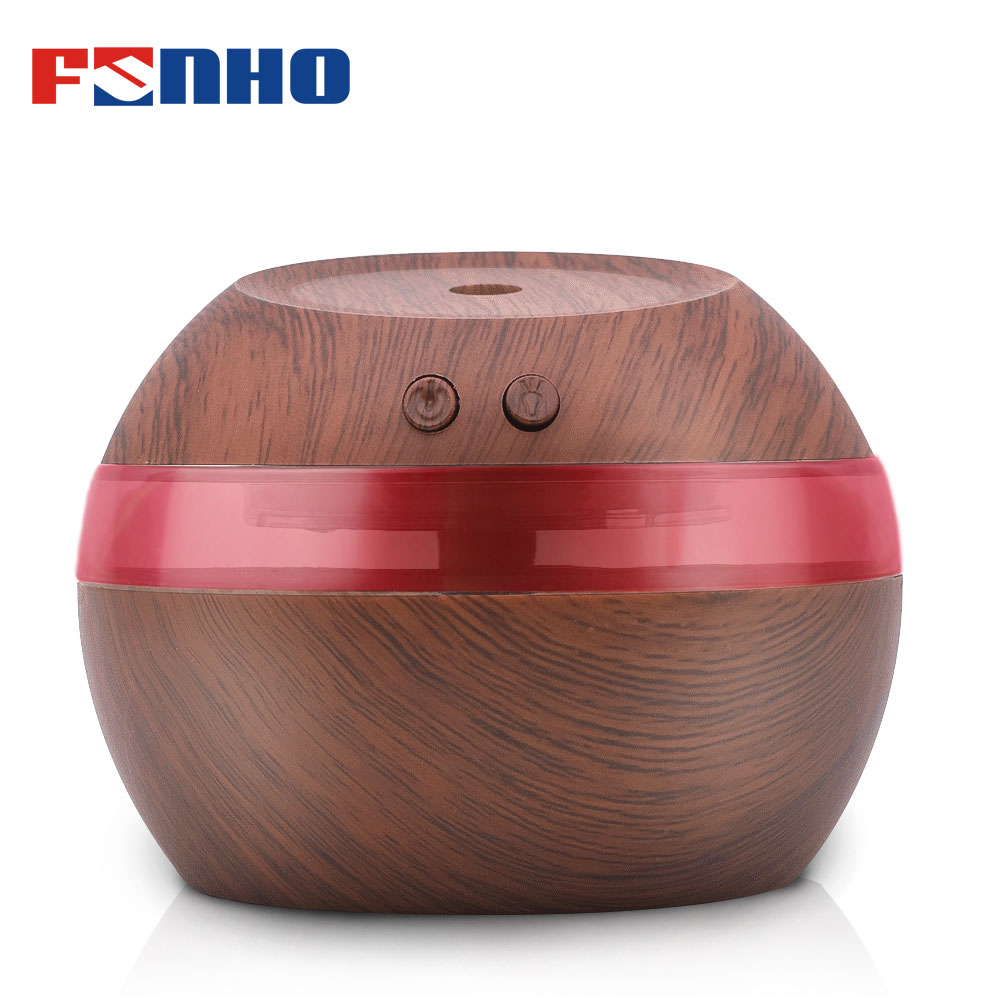 FUNHO 300ml Aroma Humidifier Ultrasonic Wood Grain Air Aromatherapy Essential Oil Diffuser Night Light Mist Maker For Home 002
