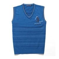 Mens Brand New Black Cohosh Sweater Vest V Neck Sweater Knitted Cotton Striped Slim Business Mens