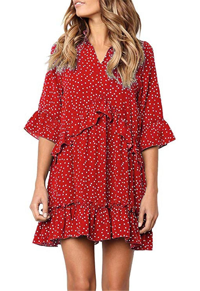 Dot Half Sleeve Ruffles Loose Dress 2019 Women Summer New Flare Sleeve Casual Fashion V Neck Elegant Short Dress Female Vestido