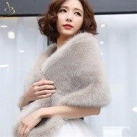 2018 Cheap Elegant White Red Grey Warm Bolero Warm Bridal Cape Winter Fur Women Jacket Bridal