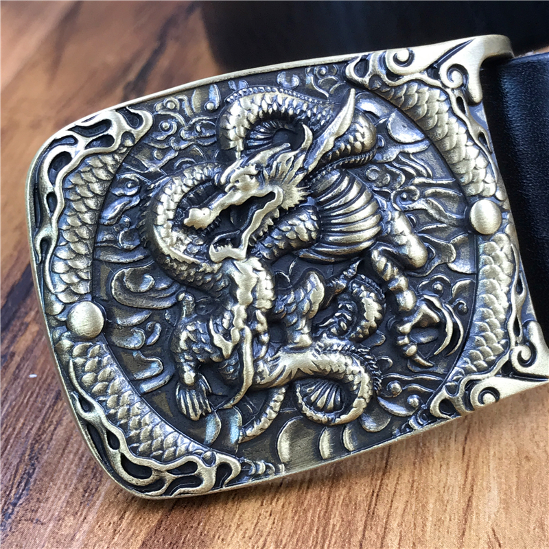 Luxury Chinese Dragon Belt Buckle Thick Genuine Leather Belt Men Jeans Belt Male Strap Ceinture Homme Cinturon Hombre Mbt0558 Great Varieties Apparel Accessories