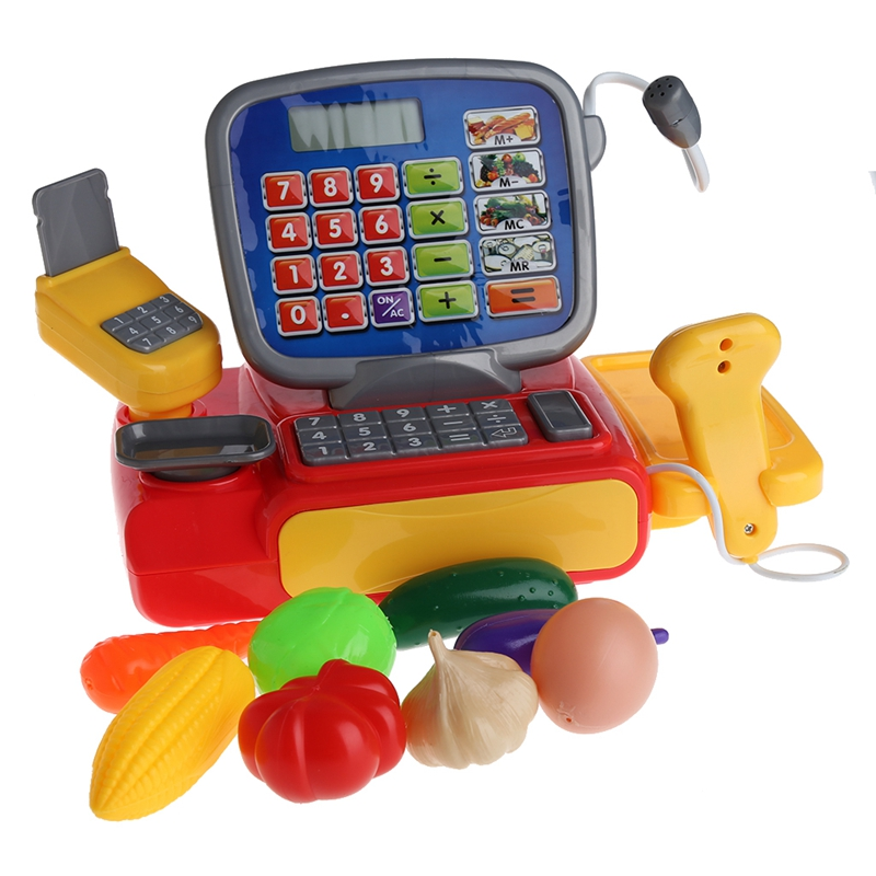 New Arrive 1Set Cash Register with Scanner Weighing Scale Electronic Toy Play Pretend For Kid
