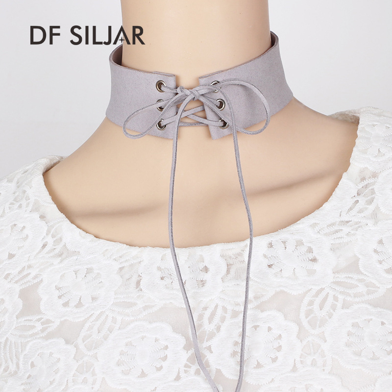 2017 7Colors Punk Maxi Suede Velvet Ladies Neck Bow Tie Choker Necklaces Collar Short Wide Tattoo Necklace For Women Y1766
