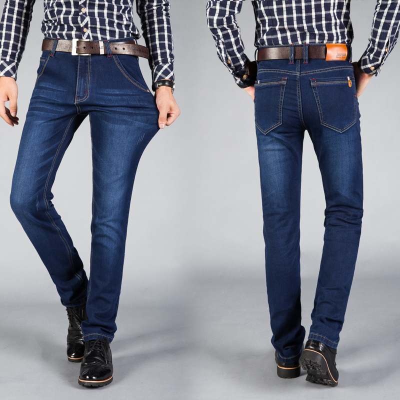 2018 New Mens Elastic Jeans Fashion Classic Blue and Black Slim Jeans Over Size 38 40 42