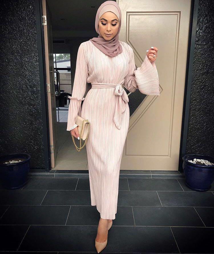 Muslim Adult Fashion Pleated Robe Musulmane Turkish Dubai Speaker sleeve Abaya Muslim Ro ...