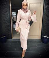 Muslim Adult Fashion Pleated Robe Musulmane Turkish Dubai Speaker Sleeve Abaya Muslim Robe Arab Worship Service
