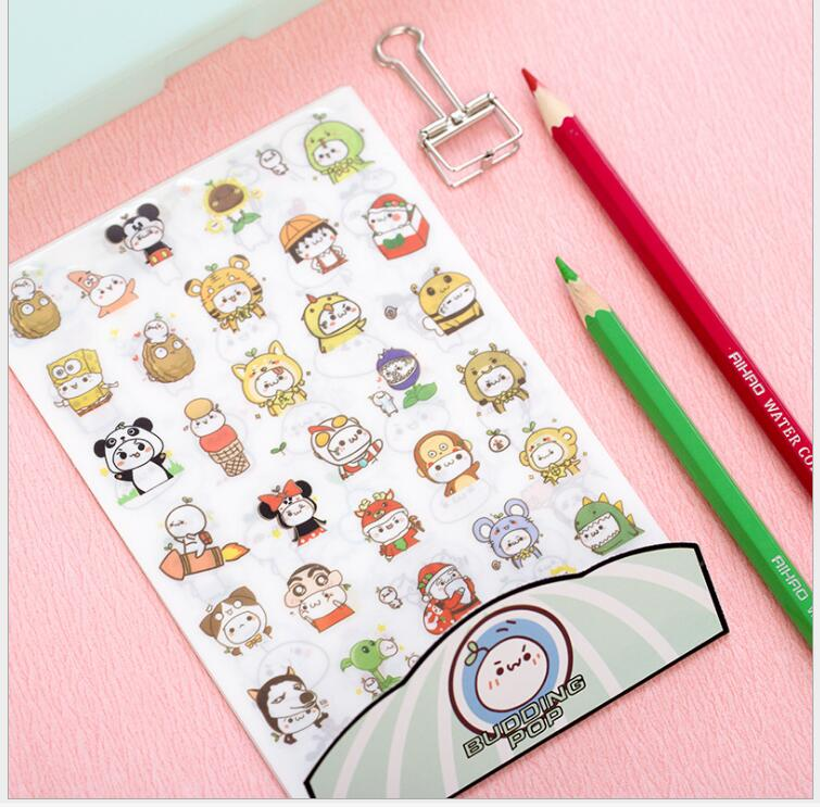 6sheets pack amiable anime civet cats stickers scrapbook diary deco stickers decorative items school stationery supplies wj0578 in stationery sticker from