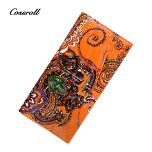 Cossroll Brand Women Wallets Genuine Leather Long thin Purse Clutches Bags Cards Holder Zipper Phone Pocket Lady Party Wallet
