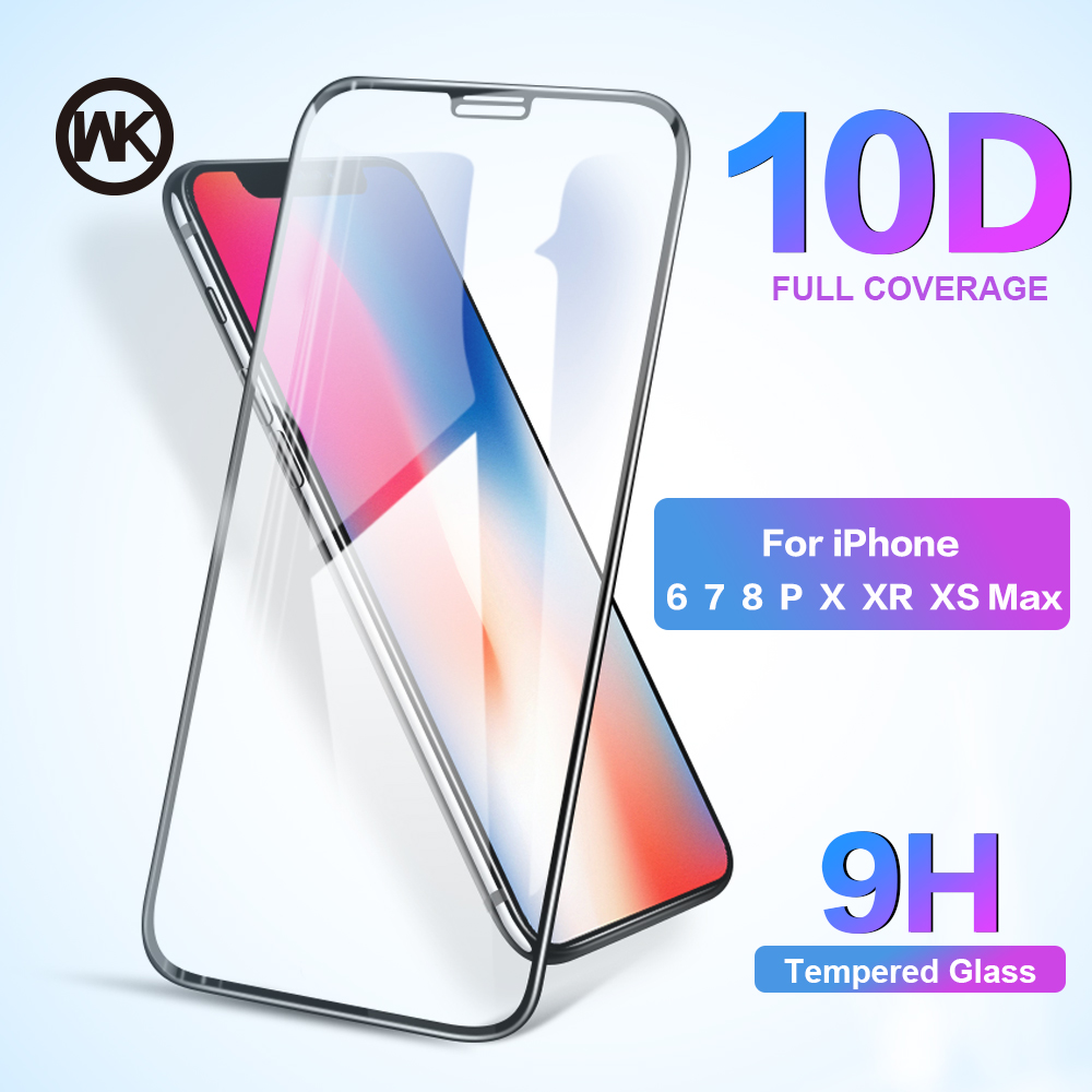 WK 10D 9H Protective Tempered Glass For IPhone X 6 6S 7 8 Plus Screen Protector For IPhone XS Max XR Screen Protector Glass Flim