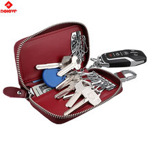 2019 Car Key Case Keys Pouch Genuine Leather KeyChain Unisex Key Bag Multifunction Organizer Wallet Holder Smart Housekeeper(China)