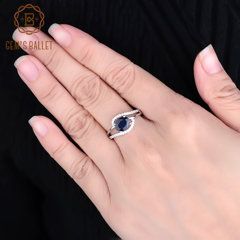 GEM'S BALLET 1.66Ct Oval Natural Blue Sapphire Gemstone Ring 925 Sterling Silver Classic Rings for Women Wedding Fine Jewelry